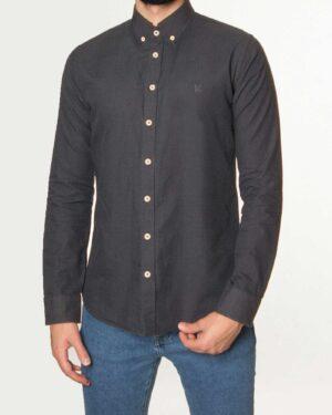 پیراهن مردانه نخی - دودی - رو به رو