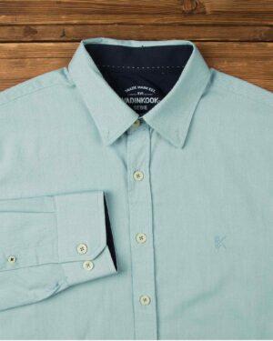 پیراهن مردانه نخی - سبزآبی روشن - آستین بلند