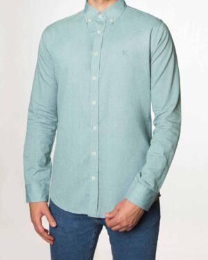 پیراهن مردانه نخی - سبزآبی روشن - رو به رو