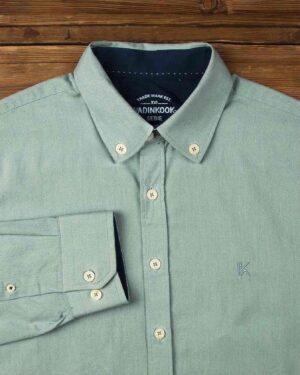 پیراهن مردانه نخی - سبز دریایی - آستین بلند