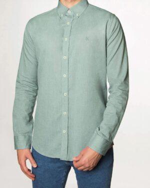 پیراهن مردانه نخی - سبز دریایی - رو به رو