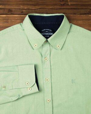 پیراهن مردانه نخی - سبز زمردی - آستین بلند