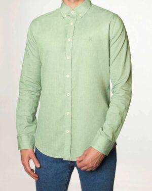 پیراهن مردانه نخی - سبز زمردی - رو به رو