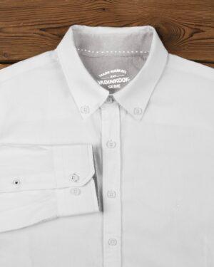 پیراهن مردانه نخی - سفید - آستین بلند