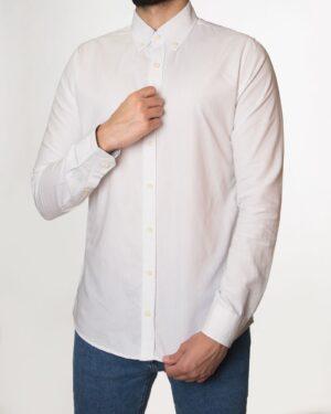 پیراهن مردانه نخی - سفید - رو به رو