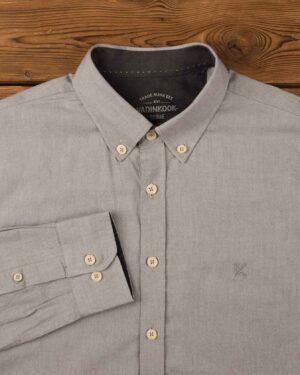 پیراهن مردانه نخی - طوسی کمرنگ - آستین بلند