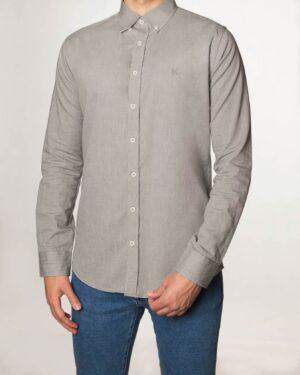 پیراهن مردانه نخی - طوسی کمرنگ - رو به رو