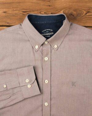 پیراهن مردانه نخی - قهوهای روشن - آستین بلند