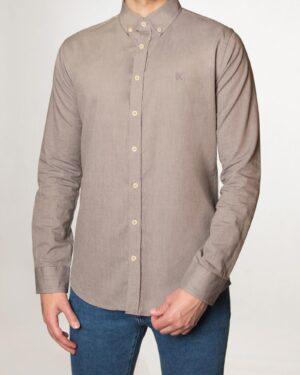 پیراهن مردانه نخی - قهوهای روشن - رو به رو