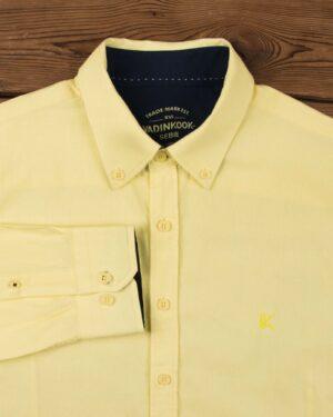 پیراهن مردانه نخی - لیمویی - آستین بلند