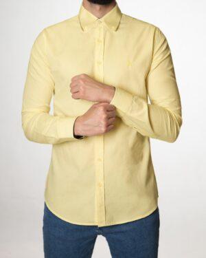 پیراهن مردانه نخی - لیمویی - رو به رو