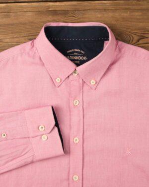 پیراهن مردانه نخی - یاسی روشن - آستین بلند