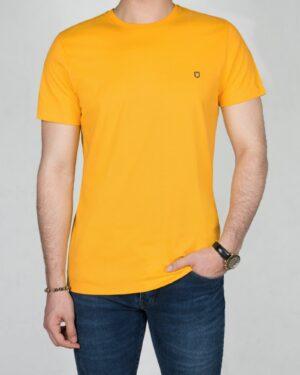 تیشرت ساده نخ پنبه ای مردانه -زرد-روبه رو