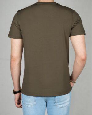 تیشرت ساده نخ پنبه ای مردانه -زیتونی-پشت