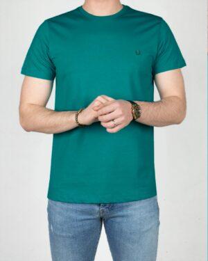 تیشرت ساده نخ پنبه ای مردانه -سبزآبی تیره-رو به رو
