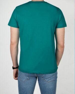 تیشرت ساده نخ پنبه ای مردانه-سبزآبی تیره-پشت