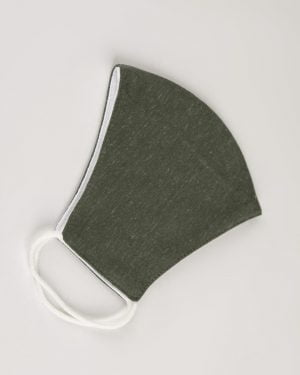 ماسک تنفسی پارچه ای-زیتونی ملانژ-نیمه خارجی ماسک