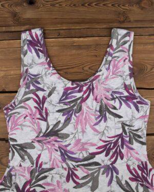 پیراهن دخترانه طرح برگ-طوسی کمرنگ-یقه