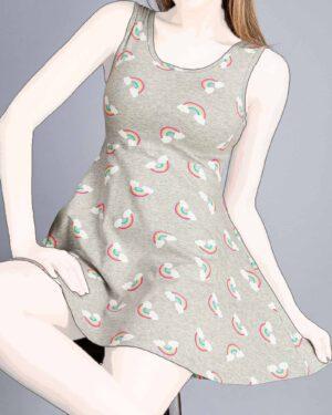 پیراهن دخترانه طرح رنگین کمان-طوسی کمرنگ-روبه-رو