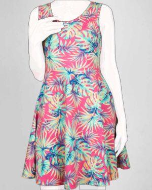 پیراهن دخترانه طرح هاوایی-ارغوانی روشن-روبه-رو