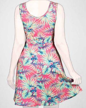 پیراهن دخترانه طرح هاوایی-ارغوانی روشن- پشت