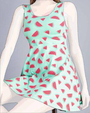 پیراهن دخترانه طرح هندوانه-سبز زمردی-روبه-رو