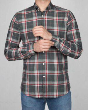 پیراهن-چارخونه-مردانه-دودی-روبه-رو-
