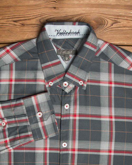 پیراهن-چارخونه-مردانه-دودی-یقه