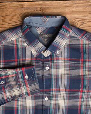 پیراهن-چارخونه-مردانه-سرمه-ای-یقه