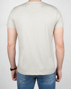 تیشرت مردانه آستین کوتاه - خاکستری محو- پشت