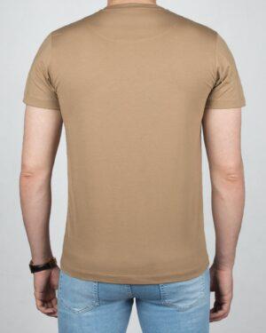 تیشرت مردانه آستین کوتاه -خاکی- پشت