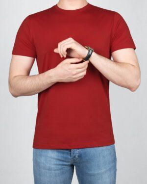 تیشرت مردانه آستین کوتاه -زرشکی- روبه-رو
