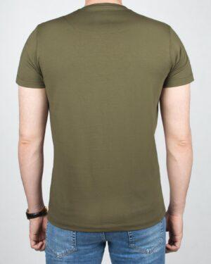 تیشرت مردانه آستین کوتاه -زیتونی - پشت