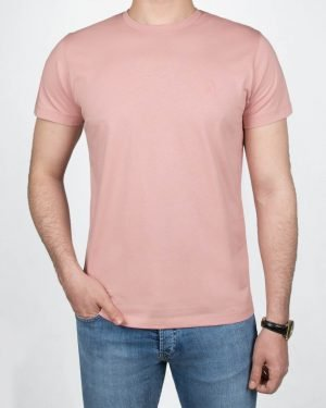 تیشرت مردانه آستین کوتاه - صورتی کثیف -روبه-رو