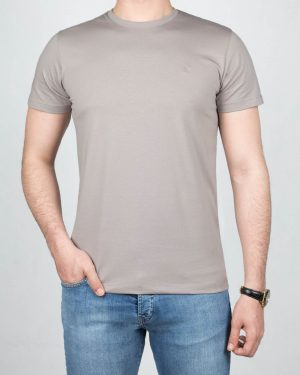 تیشرت مردانه آستین کوتاه - طوسی کمرنگ-روبه-رو