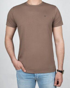 تیشرت مردانه آستین کوتاه - قهوه ای روشن- روبه-رو