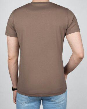 تیشرت مردانه آستین کوتاه - قهوه ای روشن- پشت
