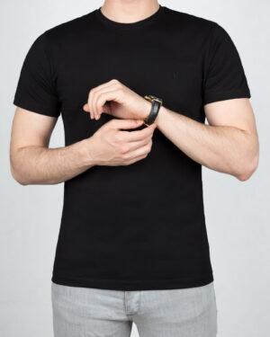 تیشرت مردانه آستین کوتاه - مشکی - روبه-رو