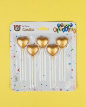 شمع کیک تولد طرح قلب - طلایی