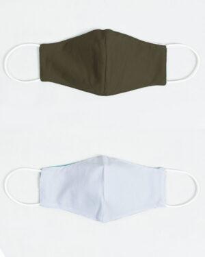 ماسک تنفسی پارچه ای-زیتونی سیر-بیرون و آستر ماسک