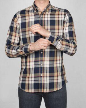 پیراهن-چارخونه-آستین-بلند-مردانه-سرمه-ای-روبه-رو