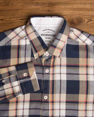 پیراهن-چارخونه-آستین-بلند-مردانه-سرمه-ای-یقه