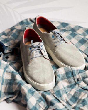 کفش نوبوک مردانه طوسی کمرنگ-محیطی