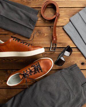 کفش چرم مردانه بند دار- محیطی