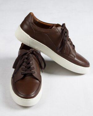 کفش چرم مردانه قهوه ای تیره-روبه-رو-بغل