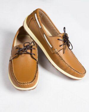 کفش کالج بندی چرم مردانه بادامی- جفت
