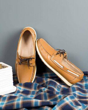 کفش کالج بندی چرم مردانه بادامی-محیطی