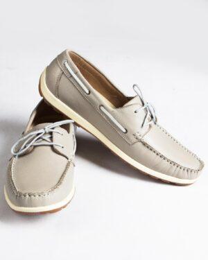 کفش کالج بندی چرم مردانه طوسی- جفت