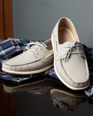 کفش کالج بندی چرم مردانه طوسی-محیطی