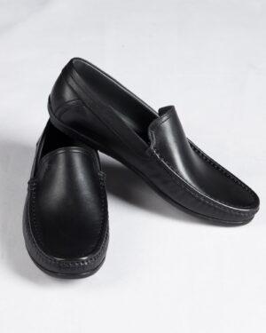 کفش کالج مردانه مشکی-روبه-رو-بغل